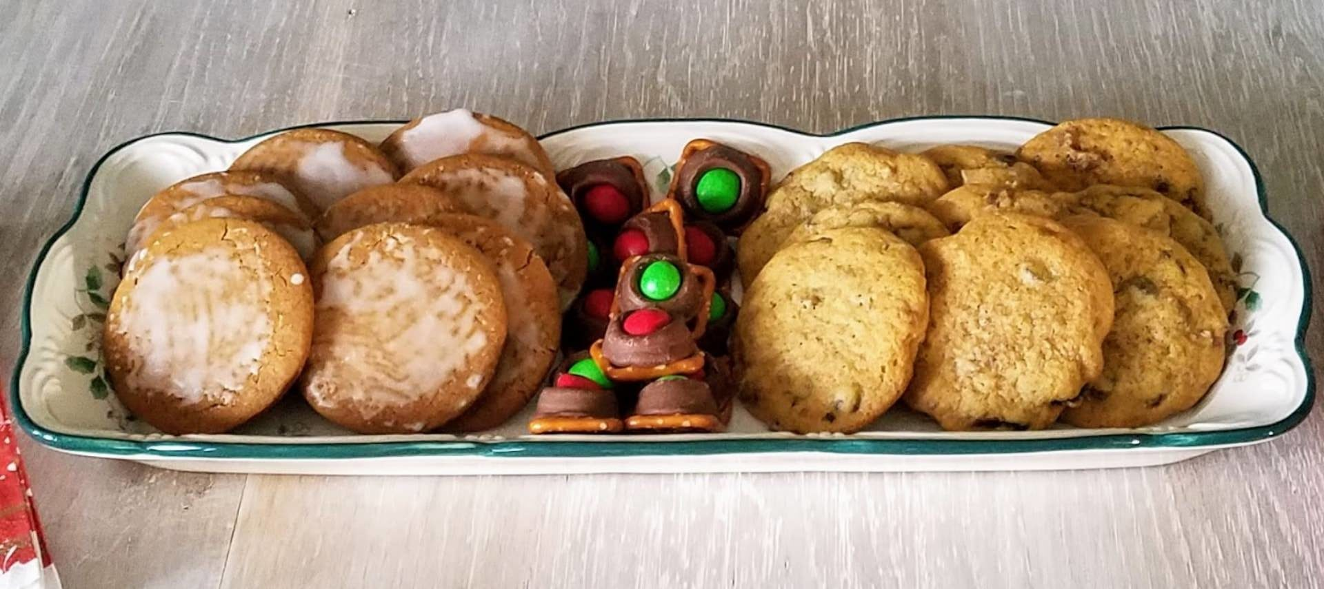 Large platter filled with an assortment of cookies